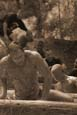 over the log and through the mud, to the finish line we go | Mud Run | Warrior Run | Sepia Tone